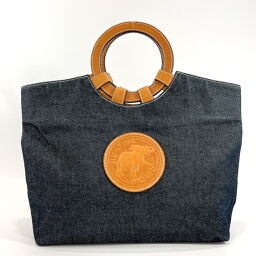 HUNTING WORLD Hunting World Tote Bag Denim / Leather Navy Brown [Used] Ladies