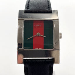 GUCCI Gucci Watch 7700L Sherry Line Stainless Steel / Leather Silver Black [Used] Ladies