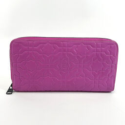 LOEWE Loewe Long Wallet 101211 Round Zipper Leather Purple [Used] Ladies