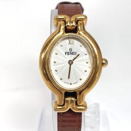 FENDI Fendi Watch 640L Quartz Stainless Steel / Leather Gold Brown Quartz White Dial [Used] Ladies