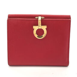 Salvatore Ferragamo Bi-Fold Wallet Gancini Leather Red [Used] Ladies