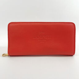 LOEWE Loewe Long Wallet Round Zip Leather Orange [Used] Ladies