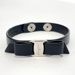Salvatore Ferragamo Salvatore Ferragamo Bracelet Vala Leather Black [Used] Ladies