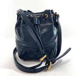 MIUMIU Miu Miu Shoulder Bag Drawstring Shoulder Leather Navy [Used] Ladies