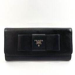 PRADA Prada Long Wallet Ribbon Saffiano Leather Black [Used] Ladies