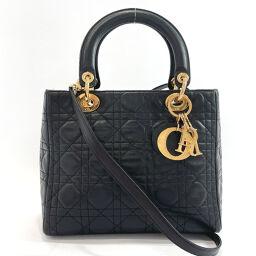 <html>    <body>   Christian Dior クリスチャンディオール ハンドバッグ レディ ディオール カナージュ 2way ラムスキン ブラック【中古】 レディース        </body> </html>