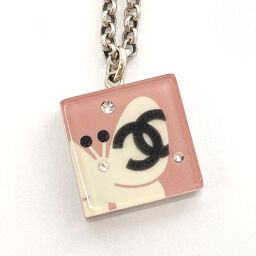 CHANEL Necklace Coco Mark Square Rhinestone Pink White 07 P Engraved [Used] Ladies