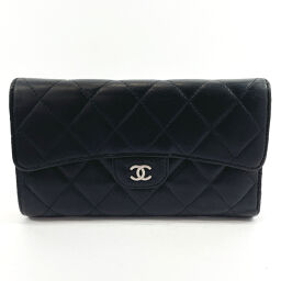 CHANEL Chanel Long Wallet Matrasse Leather Black [Used] Ladies