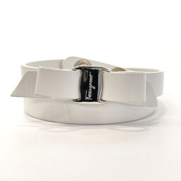 Salvatore Ferragamo Salvatore Ferragamo Bracelet Vala Ribbon Leather White [Used] Ladies