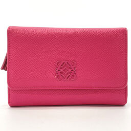 LOEWE Loewe Bi-Fold Wallet Leather Pink [Used] Ladies