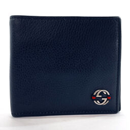 GUCCI Gucci bi-fold wallet 308795 Sherry line leather navy [used] unisex
