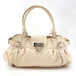 Salvatore Ferragamo Salvatore Ferragamo Handbag AB-21 5370 Gancini Calf Off-White [Used] Ladies