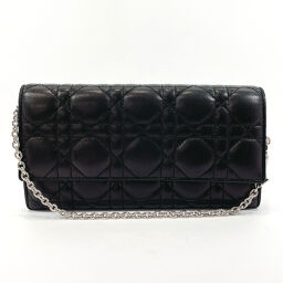 Christian Dior Christian Dior Wallet Chain Canage Lambskin Black [Used] Ladies