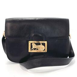 CELINE Celine Shoulder Bag Carriage Metal Fittings Vintage Leather Black [Used] Ladies