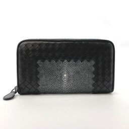 BOTTEGA VENETA long wallet round fastener intrecciato calf black [used] men's
