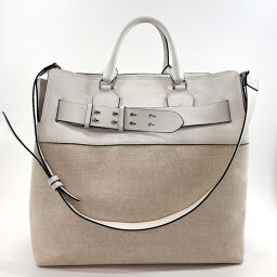 BURBERRY Burberry Tote Bag 2way Canvas / Leather White White [Used] Unisex
