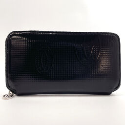 CARTIER Cartier Long Wallet Round Zip Happy Birthday Patent Leather Black [Used] Ladies