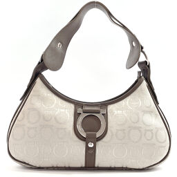 Salvatore Ferragamo Salvatore Ferragamo Shoulder Bag FH-216842 One Shoulder Gancio Canvas / Leather Gray Gray [Used] Ladies