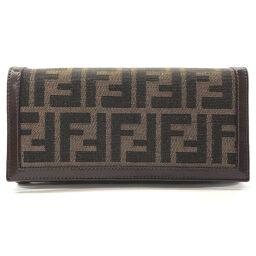 FENDI FENDI Long Wallet Zucca Canvas / Leather Brown [Used] Ladies