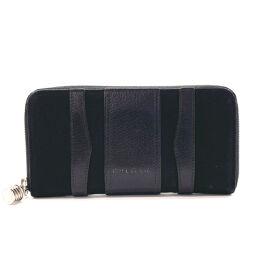 BVLGARI Bvlgari Long Wallet Round Fastener Bezero One Leather / Canvas Black [Used] Men's