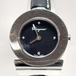Salvatore Ferragamo Watch Quartz Gancini Stainless Steel / Leather Silver Silver Quartz Black Dial [Used] Ladies