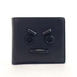 FENDI Fendi Bi-Fold Wallet 7M0169 Monster Bugs Leather Black Black [Used] Unisex