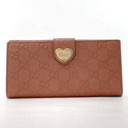GUCCI Gucci long wallet 203550 Lovely Heart Shima Leather Pink [Used] Ladies
