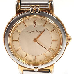 YVES SAINT LAURENT Watch Quartz Vintage Stainless Steel / Stainless Steel Gold Quartz Off-White Dial [Used] Ladies