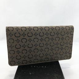 CELINE Celine C Macadam Pattern Long Wallet Canvas Brown [Used] Ladies