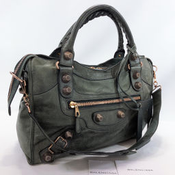 BALENCIAGA Handbag 173084 The Giant City Leather Khaki [Used] Ladies