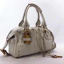 Chloe Chloe Paddington Handbag Leather White [Used] Ladies