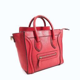 CELINE Celine Luggage Nano Shopper Handbag Leather Red [Used] Ladies