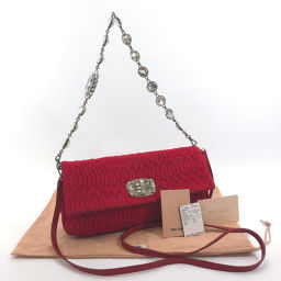 MIUMIU Miu Miu Materasse Rhinestone RP0415 Shoulder Bag Nylon / Leather Red [Used] Ladies