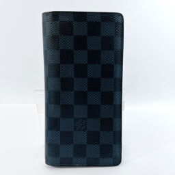 LOUIS VUITTON Louis Vuitton Long Wallet N63212 Portofeuil Braza Damier Cobalt Damier Canvas Navy [Used] Men's