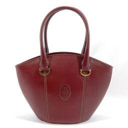CARTIER Cartier Handbag Mast de Cartier Leather Bordeaux Gold [Used] Ladies