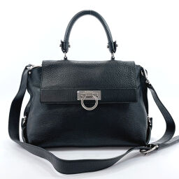 Salvatore Ferragamo Salvatore Ferragamo Handbag BW-21A896 Gancio 2WAY Leather Black [Used] Ladies
