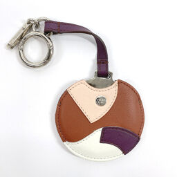 FENDI FENDI charm mirror back charm leather brown [used] ladies