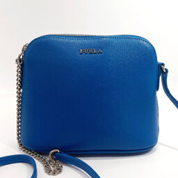 Furla Furla Shoulder Bag 933982 Leather / Gold Hardware Blue [Used] Ladies