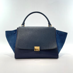 CELINE Celine Handbag 169543ZTA.07OC Trapeze Leather / Suede Navy Gold Hardware [Used] Ladies