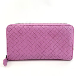 BOTTEGAVENETA Bottega Veneta long wallet intrecciato round zip leather purple [used] ladies