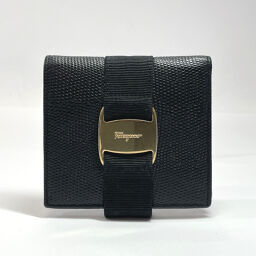 Salvatore Ferragamo Bi-fold wallet Vala leather black gold metal fittings [used] Ladies