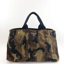 PRADA Prada Tote Bag Kanapa L Camouflage Canvas Green [Used] Ladies