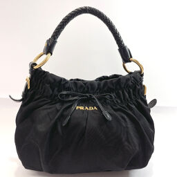 PRADA Prada Handbag Nylon / Leather / Gold Hardware Black [Used] Ladies