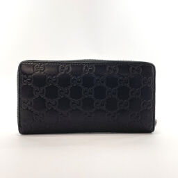 GUCCI Gucci long wallet 307987 Round fastener Shima leather black [Used] Unisex