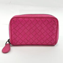 BOTTEGA VENETA Coin Case Intrecciato Leather Pink [Used] Ladies