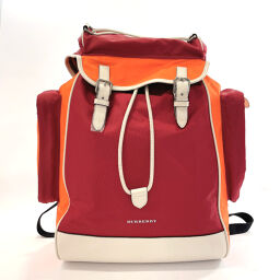 BURBERRY Burberry Rucksack Daypack 4074250 Vintage Check Nylon / Leather Wine Red Orange [Used] Men's