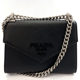 PRADA Prada Shoulder Bag 1BD127 Chain Saffiano Leather / Silver Hardware Black [Used] Ladies