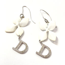 Dior Dior Earrings Metal / Rhinestone White Silver [Used] Ladies