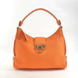 Salvatore Ferragamo Salvatore Ferragamo Shoulder Bag EZ-21 E654 Gancio Leather Orange Gold Metal Fittings [Used] Ladies