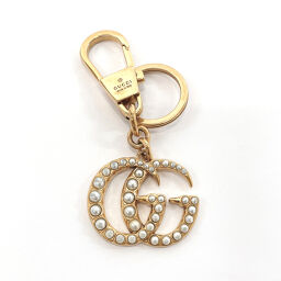 GUCCI Gucci Keychain GG Marmont Metal / Fake Pearl Gold [Used] Ladies